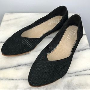 TOMS Perforated Suede Jutti Flat Pointed Toe 12